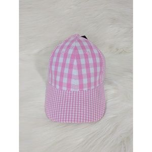 Steve Madden Pink and White Checkered Baseball Cap